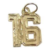 Diamond Cut Number 16 Pendant / Charm 14k Yellow Gold