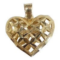 Diamond-Cut Crisscross Puffed Heart Pendant / Charm 14k Yellow Gold