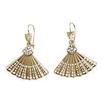 Intricate Fan Drop Earrings 14k Yellow Gold