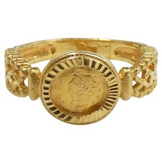Intricate US Gold Coin Ring 22k Yellow Gold