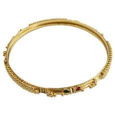 SOLID Bangle Bracelet 22K Gold  Enamel Accent