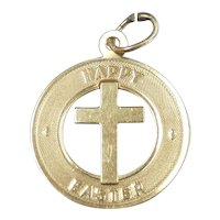 Happy Easter Cross Pendant / Charm 14k Yellow Gold