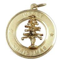 Merry Christmas - Christmas Tree Pendant / Charm 14k Yellow Gold