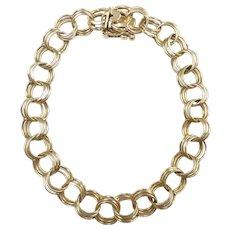 "Vintage Triple Link Charm Bracelet 7 1/2"" 14k Yellow Gold"