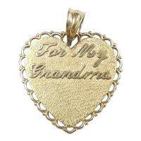 """For My Grandma"" Heart Pendant 14k Yellow Gold"