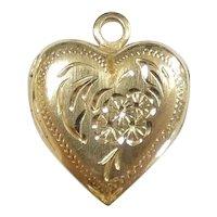 Dainty Floral Heart Locket Pendant 14k Yellow Gold