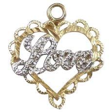 Two-Tone Love Heart Pendant / Charm 14k Gold