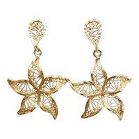 Gorgeous Filigree Starfish Dangle Earrings 14k Yellow Gold