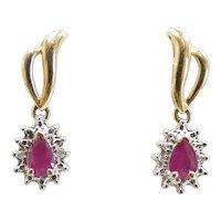 1.07ctw Ruby Drop Earrings 14k Yellow Gold
