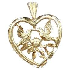 Romantic Lovebirds Heart Pendant 14k Yellow Gold