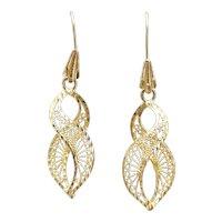 Filigree Infinity / Figure 8 Dangle Earrings 14k Yellow Gold