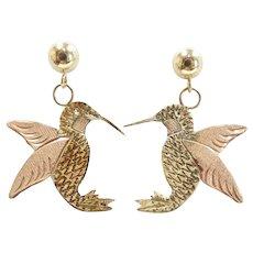 Hummingbird Drop Earrings 10k Yellow & Rose Gold