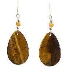 Fierce Tigers Eye Dangle Earrings 14k Yellow Gold