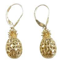 Tropical Pineapple Drop Earrings 14k Yellow Gold