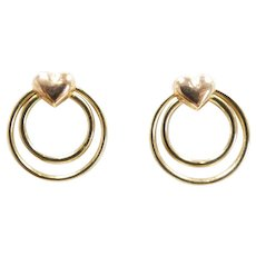 Double Open Circle Heart Stud Earrings 14k Yellow & Rose Gold