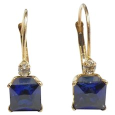 1.68ctw Blue & White Sapphire Earrings 14k Yellow Gold