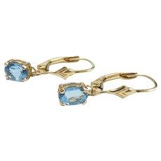 1.16ctw Bright Blue Topaz Drop Earrings 14k Yellow Gold