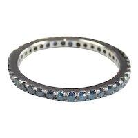 Stunning Blue Diamond .585 ctw Eternity Band Ring 14k White Gold
