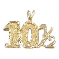 Ten And A Half - 10 1/2 Pendant / Charm 14k Yellow Gold