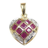 Romantic .74 ctw Ruby & Diamond Heart Pendant 14k Yellow & White Gold