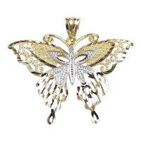 Two-Tone Diamond Cut Butterfly Pendant 14k Gold
