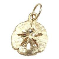Diamond Cut Sand Dollar Pendant / Charm 14k Yellow Gold