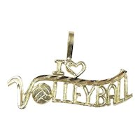 I ♥ Volleyball Pendant / Charm 14k Yellow Gold