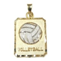 Two-Tone Volleyball Pendant 14k Gold