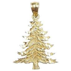 Diamond Cut Christmas Tree Pendant / Charm 14k Yellow Gold