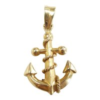 Nautical Boat Anchor With Rope Pendant / Charm 14k Yellow Gold