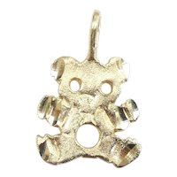 Diamond Cut Teddy Bear Pendant / Charm 14k Yellow Gold