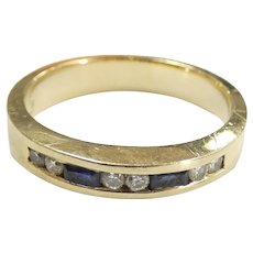 Sapphire & Diamond .32 ctw Channel Set Band Ring 14k Yellow Gold