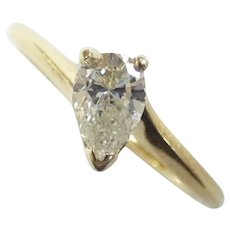 .69 ct Slanted Pear Diamond Solitaire Engagement Ring 14k Yellow Gold