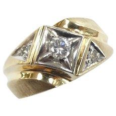 Men's .26 ctw Diamond Band Ring 14k Yellow & White Gold