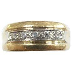 Gents .15 ctw Diamond Band Ring 14k Yellow & White Gold