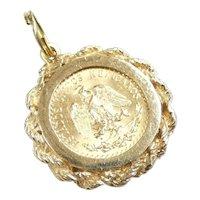 1945 Dos Pesos Mexican Coin Pendant / Charm 14k & 22k Yellow Gold