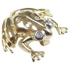 .085 ctw Diamond Frog Pendant 14k Yellow & White Gold