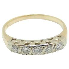 Vintage Two-Tone .35 ctw Diamond Band Ring 14k Gold