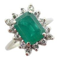 1.78 ctw Natural Emerald & Diamond Halo Ring 14k White Gold