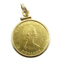1989 Canadian Maple Leaf 1/4 oz Coin Pendant 14k & 24k Yellow Gold