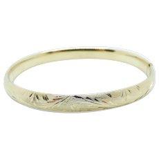 "Etched Bangle Bracelet 14k Yellow Gold ~ 7.58 Grams ~ 6 3/4"""