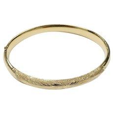 Detailed Hinged Bangle Bracelet 14k Yellow Gold