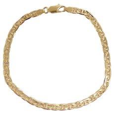 "Textured Marine Anchor / Mariner Link Bracelet 8"" 18k Yellow Gold"