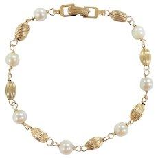 "Gold Bead & Pearl Bracelet 7 1/4"" 14k Yellow Gold"