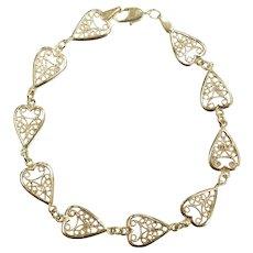 """Filigree Heart Bracelet 7 1/2"""" 14k Yellow Gold"""