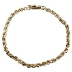 "Vintage Rope Bracelet 7 3/8"" 14k Yellow Gold"