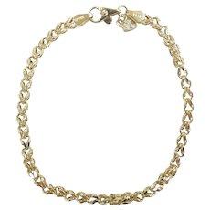 """Open Wheat Link Bracelet 7 1/4"""" 14k Yellow Gold"""