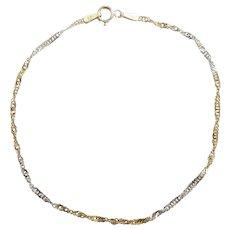 "Two-Tone Twisted Singapore Bracelet 7 1/8"" 14k Gold"