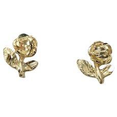 Vintage Rose Stud Earrings 14k Yellow Gold