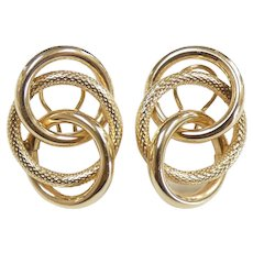 Interlaced Triple Circle Earrings 14k Yellow Gold